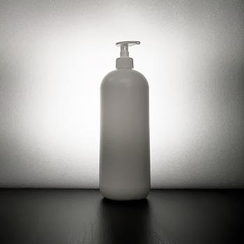 Pyöreäolkainen muovipullo 1000ml HDPE pumppupullo saippuapumppu