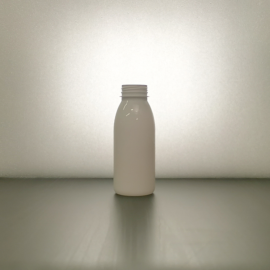 Bottle, smoothie, PET, 300 ml, glassy, Mango-shape, BRC 38 mm, for beverages, milk, smoothies, transparent or white
