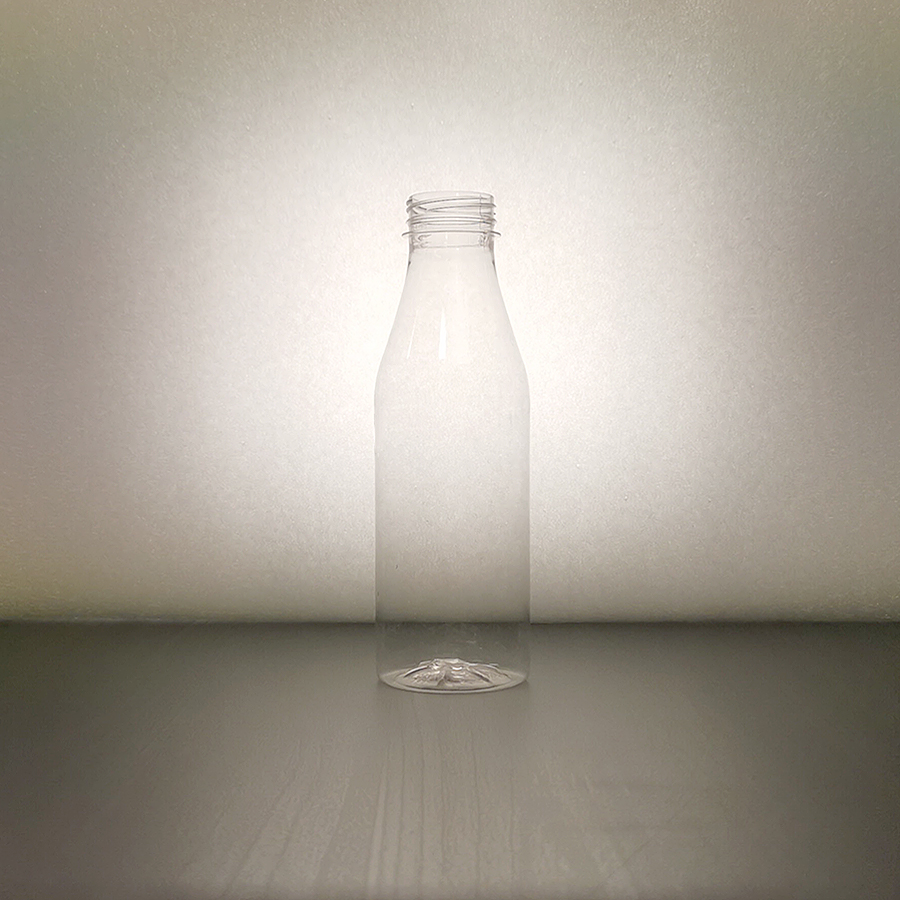 Bottle for beverages, Smoothie, Glassy, PET, 500 ml, BCR 38 mm, white or transparent, Milk-Man shape