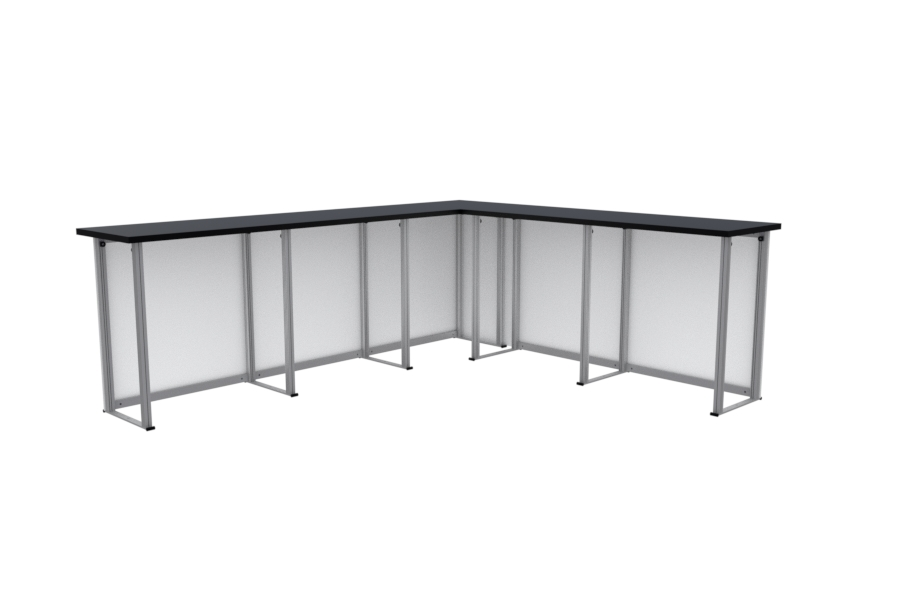 Light weight, rapid reception desk or counter