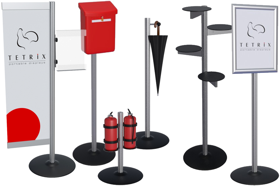 Shelfs, holders, leaflet pockets, screens, boards for your stand