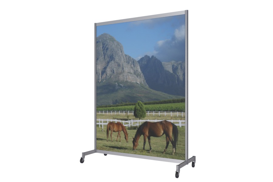 Mobile advertising wall with castors